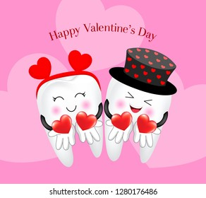 Cute cartoon tooth character with heart. Couple in love, Valentine's day concept. Illustration on pink background.
