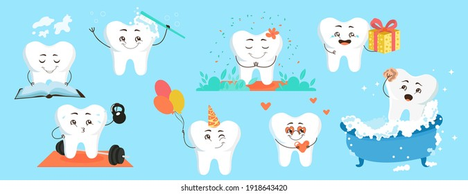 Cute cartoon tooth character for pediatric dentistry. Vector set of illustration of cheerful teeth