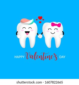 Cute cartoon tooth character with red heart. Couple in love,  Valentine's day concept. Illustration isolated on blue background.