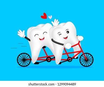 Cute cartoon tooth character ride a bicycle. Happy valentine's day. Dental care concept. Illustration isolated on blue background.