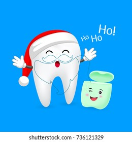 Cute cartoon tooth character with Santa hat. Dental floss in Santa beard shape. Merry Christmas concept, illustration isolated on blue background,