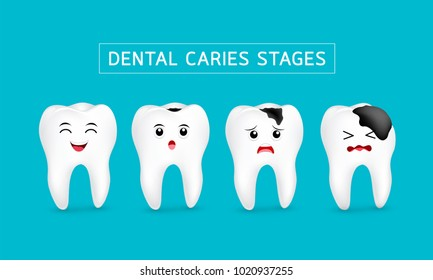Cute cartoon tooth character show stages of caries development. Dental care concept, illustration isolated on blue background.