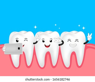 Cute cartoon tooth character taking selfie. Take a photo with mobile phone. Dental care concept. Illustration isolated on blue background.