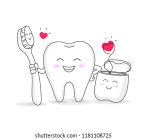 cute cartoon tooth character with toothbrush and dental floss. Dental care concept. Vector illustration isolated on white background.