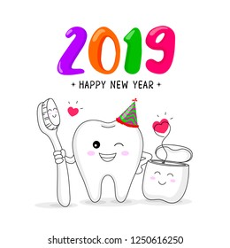 cute cartoon tooth character with toothbrush and dental floss. Happy new year, dental care concept. Vector illustration isolated on white background.