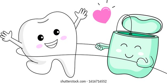 Cute cartoon tooth character using dental floss.  I love floss, dental care concept. Vecotr Illustration isolated on white background.