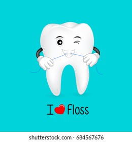 Cute cartoon tooth character using dental floss.  I love floss, great for dental care concept. Illustration isolated on blue background.