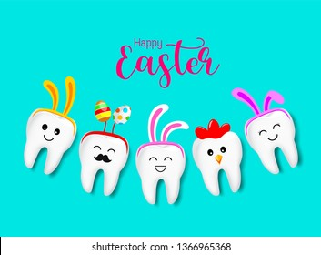 Cute cartoon tooth characters decorated with rabbit ears. hen and Easter egg. Happy Easter concept. Illustration isolated on blue background.