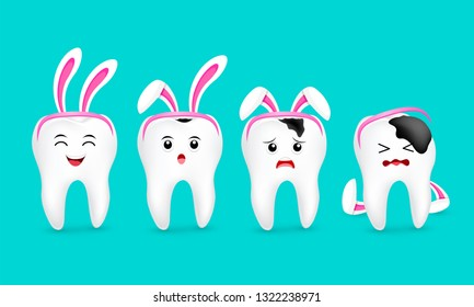 Cute cartoon tooth characters with rabbit ears decoration. Stages of caries development. Dental care concept. Happy Easter concept. illustration isolated on blue background.