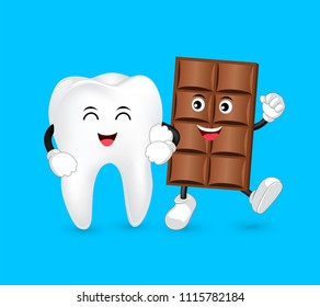 Cute cartoon tooth and Chocolate character with love. Dental care concept. Funny illustration isolated on blue background.