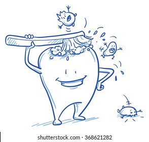 Cute cartoon tooth cleaning himself with a brush, scaring off the bacteria. Hand drawn line art cartoon vector illustration.