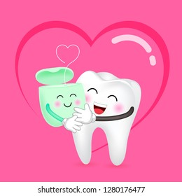 Cute cartoon tooth and dental floss in love. Dental care concept. Happy valentine's day. Illustration with background of heart.