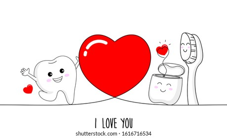 Cute cartoon tooth with dental floss and toothbrush in love. Dental care concept. Happy valentine's day. Cartoon character design. Vector illustration isolated on white background.