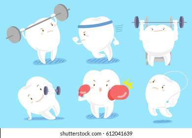 cute cartoon tooth with different exercise on blue background