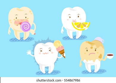 cute cartoon tooth with different teeth problems