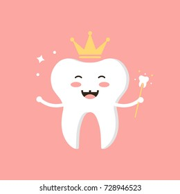 Cute cartoon tooth fairy vector flat design illustration.