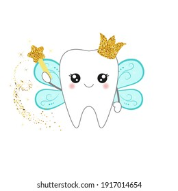 Cute cartoon tooth fairy wearing crown and holding a star magic wand. Vector illustration.