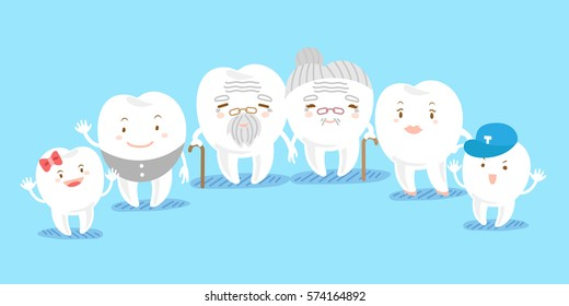 cute cartoon tooth family with blue background