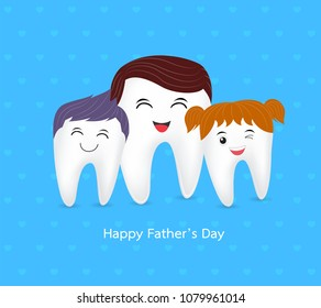Cute cartoon tooth family. Happy Father Day, dental care concept. illustration on blue background