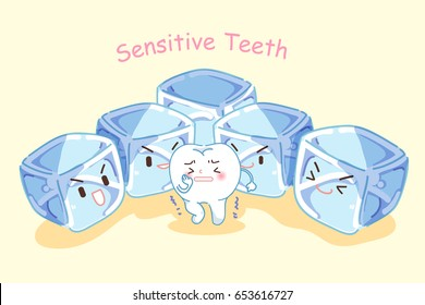 cute cartoon tooth feel afraid with sensitive problem