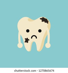 Cute cartoon tooth Feel bad. dental caries, toothache, bad teeth, limestone, swollen gums. diseased tooth and oral cavity. on blue background. illustration - Vector