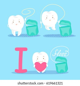cute cartoon tooth with floss on blue background