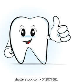 Cute cartoon tooth giving the thumbs up, vector 10