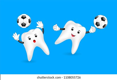 Cute cartoon tooth as goal keeper. Soccer ball, mascot character, sport concept. Illustration isolated on blue background.