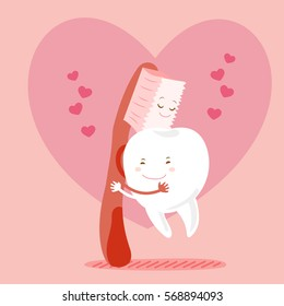 cute cartoon tooth hug witih brush happily