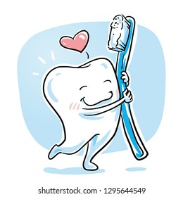 Cute cartoon tooth in love hugging ist toothbrush. Hand drawn cartoon sketch vector illustration, whiteboard marker style coloring.