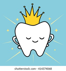 cute cartoon tooth with royal crown concept funny vector illustration