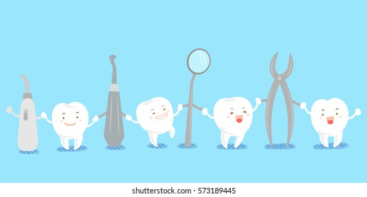 cute cartoon tooth smile happily with tool