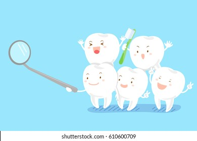 cute cartoon tooth smile happily with mirror on blue background