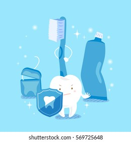 cute cartoon tooth take shield with health concept
