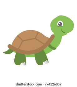 A cute cartoon tortoise vector icon