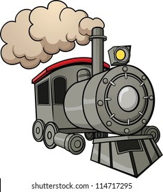 Cute cartoon train. Vector illustration with simple gradients. All in a single layer.