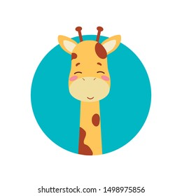 Cute cartoon trendy design little giraffe, baby with closed eyes. African animal wildlife vector illustration icon against the background of the turquoise circle.