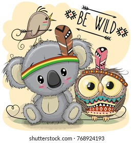 Cute Cartoon tribal Koala and owl with feather