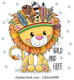 Cute Cartoon tribal Lion with feathers on a white background
