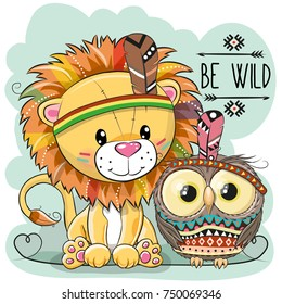 Cute Cartoon tribal Lion and owl with feather