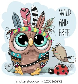 Cute Cartoon tribal Owl and bird with feathers