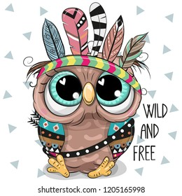 Cute Cartoon tribal Owl with feathers on a white background