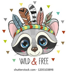Cute Cartoon tribal Raccoon with feathers on a white background