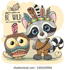 Cute Cartoon tribal Raccoon and owl with feathers