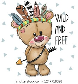 Cute Cartoon tribal Teddy Bear with feathers on a white background