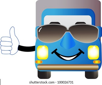 cute cartoon truck with sunglasses and showing thumb up