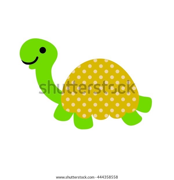 Cute Cartoon Turtle Dotted Shell Isolated Stock Vector Royalty