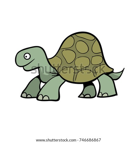 cute cartoon turtle or giant tortoise