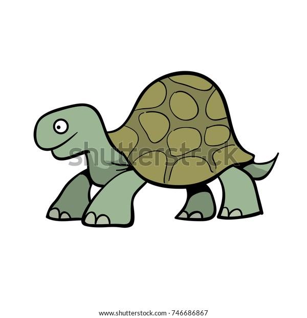 cute cartoon turtle or giant tortoise