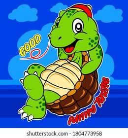 A cute cartoon turtle on a blue background